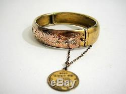 Superb Antique French Sterling Silver & Gold Vermeil Bracelet With Coin 1867