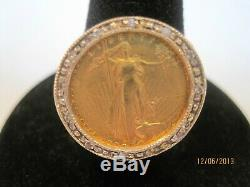 VINTAGE 14k GOLD 10 DIAMONDS & $5 1/10 Eagle GOLD Coin RING AT 9.1gr SIZE 7.75