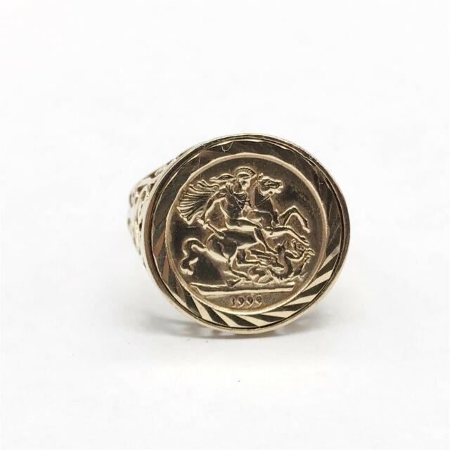 Vintage Solid 9ct Gold Sovereign Coin Style Design Ladies Ring Size R