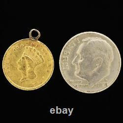 VTG 1856 US 21.6K $1 Dollar Gold Coin Liberty Indian Princess Charm For Bracelet