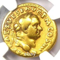 Vespasian Jewish Gold AV Aureus Coin 69-79 AD NGC Choice Fine Rare Jewess