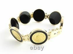 Vintage 14 Karat Yellow Gold and Onyx Panda Coin Bracelet #6182