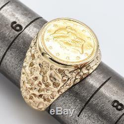 Vintage 14K Yellow Gold 1852 US Liberty Face 1 Dollar Coin Ring 7.6 Grams
