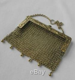 Vintage 14k Gold Art Deco Chatelaine Mesh Mini Coin Purse Tourmaline Clasp 44.4g