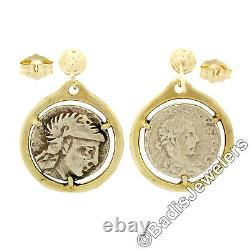 Vintage 14k Yellow Gold Prong Set Round Ancient Coin Drop Dangle Post Earrings