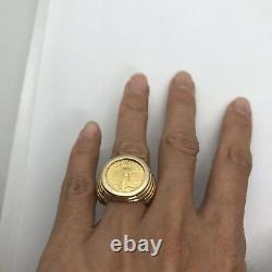 Vintage 14k yellow gold coin Liberty 1987 bezel ring 9.75 10 14g eagle large