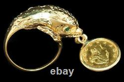Vintage 14kt Gold Ladies Dolphin Ring With Emerald Eyes With1849 $1 Gold Coin 8.60gr