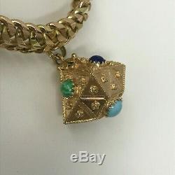 Vintage 18K Gold Charm Bracelet Etruscan Mexico 20 Pesos Coin 4 Charms 139 Grams