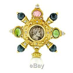 Vintage 18k Gold Tourmaline Diamond Pearl Octagon Slide Pendant with Antique Coin