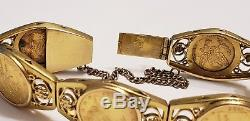 Vintage 18k Yellow Gold Coin with Safety Chain Bracelet 32.3 grams