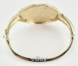 Vintage 1947 Mexican 50 Pesos Gold Coin Bangle Bracelet 14K Yellow Gold Bracelet