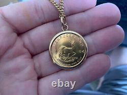 Vintage 1984 1/2oz gold Krugerrand Gold Coin 20in 9ct Pendant Necklace