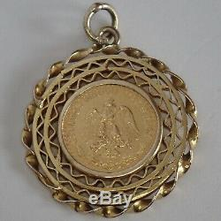 Vintage 21k 900 Gold 1945 Dos Pesos Coin Pendant Or Charm In 14k Gold Frame