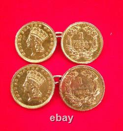 Vintage 22k Gold US One-Dollar Coin cuff links (1854 1856 &)