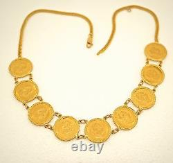 Vintage 24K & 14Gold 9 Coin Necklace FRANK AVSTRIAE IMPERATOR