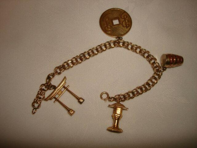 Vintage 4 Pc Charms Lucky Coin Double Chain Bracelet 14 Karat Solid Gold 7 L