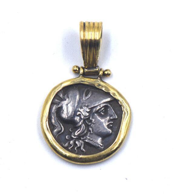 Vintage Ancient Greek Silver Coin Necklace Pendant Goddess Athena 18k Gold