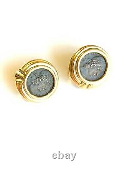 Vintage Bvlgari 18K Yellow Gold Ancient Coin Monete Earrings