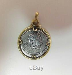 Vintage Chanel 14K Yellow Gold Charm / Pendant With Ancient Silver Coin
