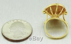 Vintage Estate 14k Solid Yellow Gold Bezel 1945 2 1/2 Pesos 22k Gold Coin Ring