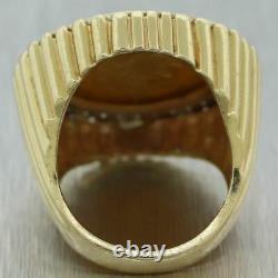 Vintage Estate 14k Yellow Gold 0.50ctw Diamond 1882 22k Italian Zolire Coin Ring