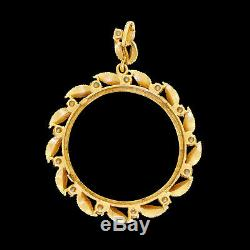 Vintage Ladies 14k Gold Pearl Coin Bezel Pendant 34mm For $20 Gold Double Eagle