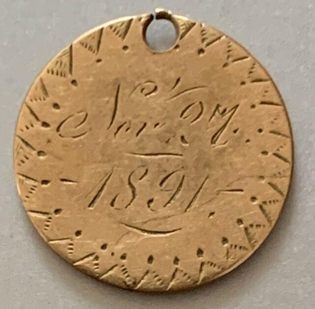 Vintage Love Token 1 Dollar Liberty Gold Coin In Fine Condition Mother