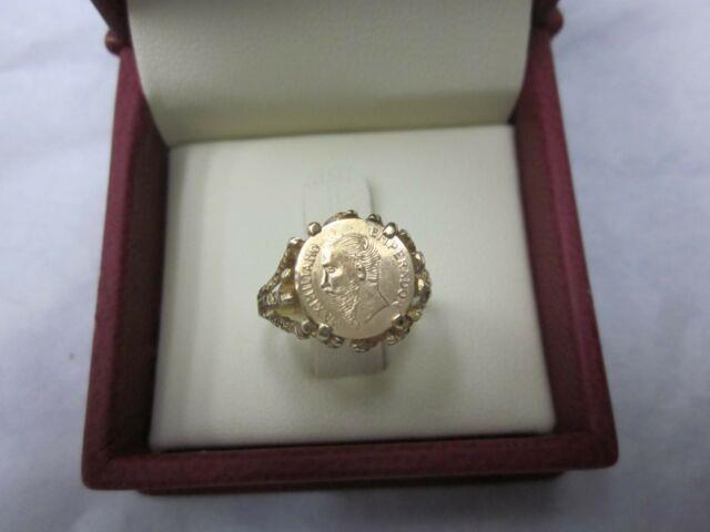 Vintage Mexican Artisan Made 14k Gold Mount Maximiliano 1865 Coin Ring Sz 5 3/4