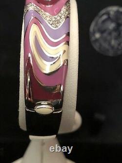Vintage ROBERTO COIN 18k White Gold ENAMEL & DIAMOND Bangle BRACELET Retired