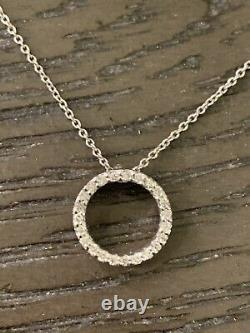 Vintage Roberto Coin 18K White Gold and Diamond Circle Pendant Necklace Ruby