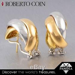 Vintage Roberto Coin 18k White & Yellow Gold Woven J-Hoop Crossover Earrings