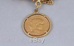 Vintage Solid 18K Yellow Gold Coin Bracelet Gypsy Style 1910 20 Francs France
