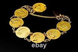 Vintage US $2 1/2 Indian Coin Bracelet Connected with 18K and 22K