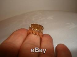Vintage Unique 1945 Dos Pesos Coin 22K Gold 14K Bezel Signet Pinky Ring Size 7