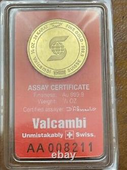 Vintage Valcambi 1/4 oz Fine. 9999 Gold Scotia Bank Assay Card Sealed Rare