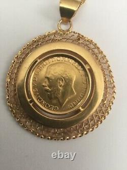 Vintage1911 Egyptian Authentic Stamped 21k Yellow Gold Heavy 16.1gm Coin Pendant