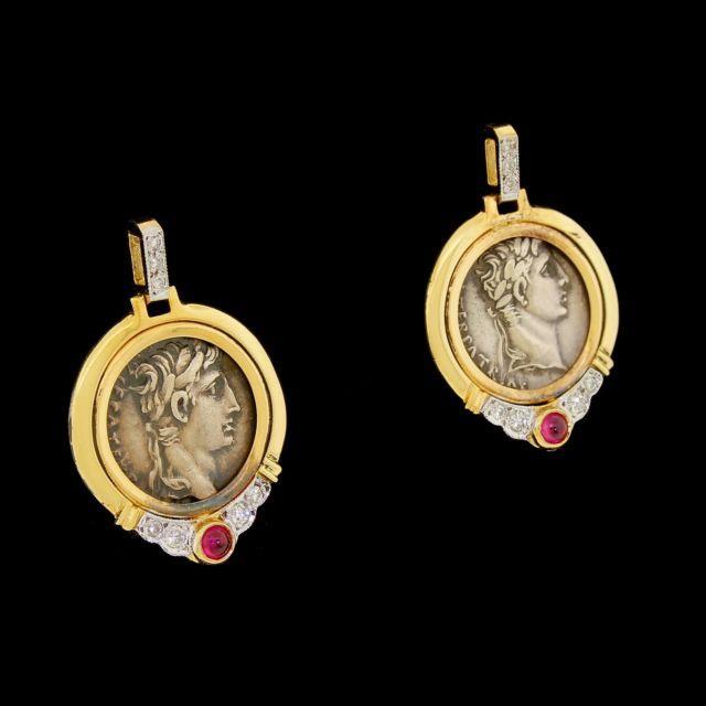 Vtg 14k Gold Diamond Ruby Roman Ancient Coin Drop Dangle Earrings Mayor's /birks