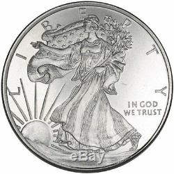 WALKING LIBERTY 1/2 Troy Oz. 999 FINE SOLID SILVER ART-ROUND (new) Golden State