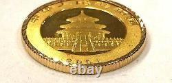 Wow 2001-1/4 Oz. 999 Fine Gold Panda Coin In Solid 14k Yellow Gold Bezel