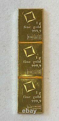 Wow 3- 1 Gram, Valcambi Bars, 999.9 Fine Gold Combi Bar-, See Other Gold