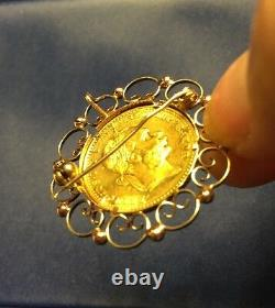 Yellow Gold Coin 1915 Franc Ios Idg Avstriae Imperator Coin Pendant Brooch