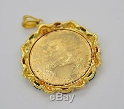 #jc115 1/4 Oz Fine Gold Liberty Lady 1997 Coin 14k Diamond Bezel Pendant
